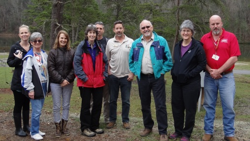March 28 activities included a tour of various recreational assets. The morning's group is shown here at Gatewood Reservoir (left to right): Nichole Hair, Linda Hall, Catherine Van Noy, Ursula Lemanski, Mike McMillion, Dave Hart, Ron Hall, Cathy Hanks, Bill Pedigo